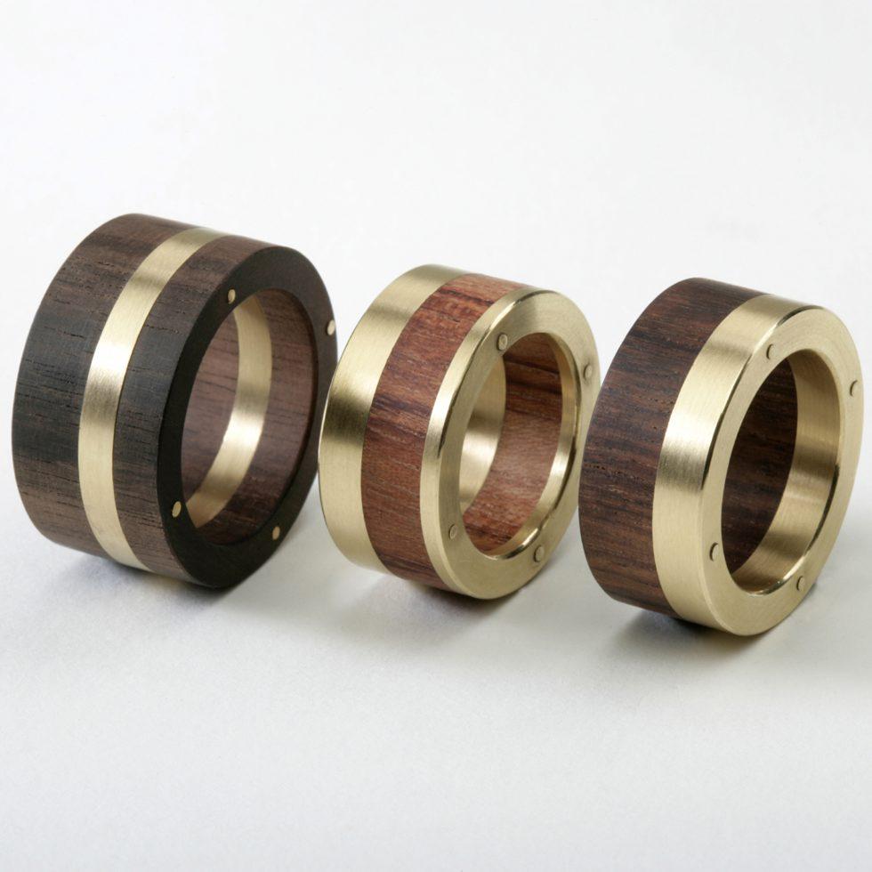 Scheibenringe Holz Gold